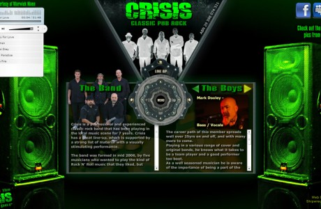 Crisis Rock Band were looking for a web presence that venues, promoters & punters alike were able to see who they are, what they do & listen to a little of their music on the page.