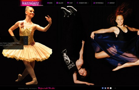 A dance school site showcasing a revolving panorama display of their students which is touch screen sensitive and optimized for desktops, tablets & phones. The panorama was flawlessly photoshoped from many individual photos into one endless revolving scene in-house by Shipwreck Studio.